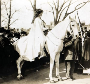 Inez Milholland, mounted on Gray Dawn, ranks as one of the most important female equestrian leaders in American history, for it was on the back of a horse that she liberated her sisters from the sidesaddle, as well as helping obtain them the right to vote.